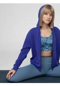 4f - Bluza treningowa damska z modalu. Typ kołnierza: kaptur. Kolor: niebieski. Materiał: włókno, dzianina. Sport: fitness