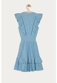 Niebieska sukienka Guess rozkloszowana, gładkie