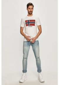 Biały t-shirt Napapijri z nadrukiem, casualowy, polo, na co dzień