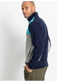 Bluza z zamkiem bonprix jasnoszary melanż - morski - ciemnoniebieski. Typ kołnierza: kołnierzyk stójkowy. Kolor: szary. Wzór: melanż #4