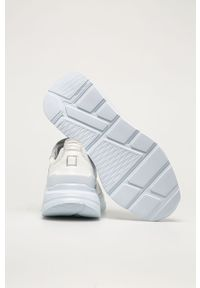 Białe buty sportowe D.A.T.E. z okrągłym noskiem, na sznurówki, z cholewką