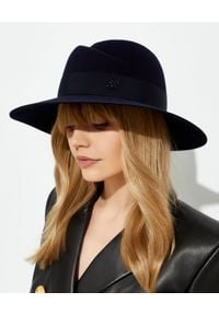 MAISON MICHEL PARIS - Granatowy kapelusz Virginie. Kolor: niebieski. Materiał: wełna, futro, zamsz. Wzór: aplikacja. Styl: elegancki