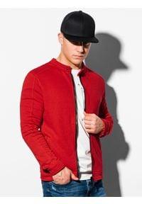 Ombre Clothing - Bluza męska rozpinana bez kaptura B1071 - czerwona - XL. Typ kołnierza: bez kaptura. Kolor: czerwony. Materiał: bawełna, poliester