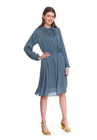 Niebieska sukienka TOP SECRET w kolorowe wzory, z długim rękawem, na co dzień, ze stójką