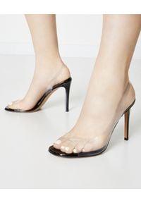 ALEXANDRE VAUTHIER - Transparentne sandały Amber Ghost. Zapięcie: pasek. Kolor: czarny. Materiał: lakier, satyna. Wzór: nadruk