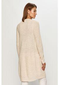 Kremowy sweter rozpinany Vila długi, casualowy, na co dzień