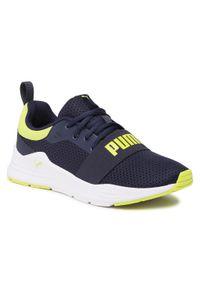 Puma - Sneakersy PUMA - Wired Run Jr 374214 07 Peacoat/Sulphur Spring. Okazja: na uczelnię, na spacer. Kolor: niebieski. Materiał: materiał. Szerokość cholewki: normalna