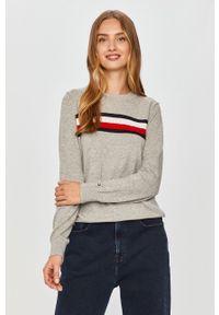 Szary sweter TOMMY HILFIGER z okrągłym kołnierzem, długi, z aplikacjami, z długim rękawem