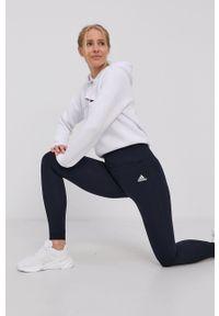Adidas - adidas - Legginsy. Kolor: niebieski. Materiał: dzianina. Wzór: gładki
