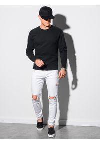 Ombre Clothing - Bluza męska bez kaptura bawełniana B1146 - czarna - XXL. Typ kołnierza: bez kaptura. Kolor: czarny. Materiał: bawełna. Styl: klasyczny, elegancki