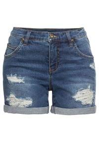 """Szorty dżinsowe z ozdobnymi przetarciami bonprix niebieski """"stone"""". Kolor: niebieski"""