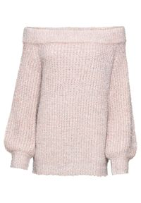 Różowy sweter bonprix z kołnierzem typu carmen, na jesień