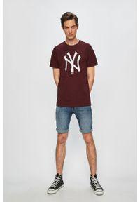 Brązowy t-shirt New Era z okrągłym kołnierzem, casualowy, z nadrukiem #4