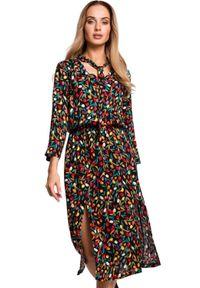 Sukienka MOE w kwiaty, midi, elegancka