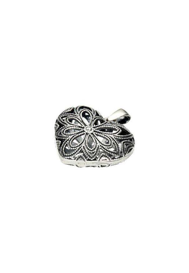 Polcarat Design - Srebrny oksydowany wisiorek SERCE W 1263. Materiał: srebrne. Kolor: srebrny