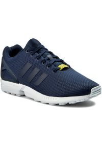 Niebieskie buty sportowe Adidas z paskami, z cholewką
