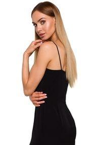 MOE - Zjawiskowa lekko połyskująca sukienka maxi z rozcięciem. Materiał: tkanina, materiał, elastan. Długość: maxi