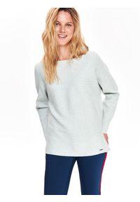 Szary sweter TOP SECRET casualowy, na co dzień, w kolorowe wzory, na jesień