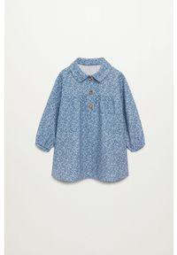 Niebieska sukienka Mango Kids na co dzień, z długim rękawem, prosta, w kwiaty
