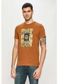 Brązowy t-shirt Jack & Jones casualowy, z nadrukiem, na co dzień