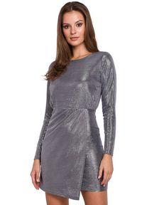 Sukienka na imprezę mini, z długim rękawem, asymetryczna