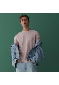 Reserved - Bawełniany t-shirt - Różowy. Kolor: różowy. Materiał: bawełna