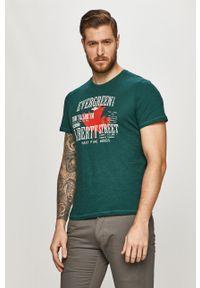 Zielony t-shirt Tom Tailor na co dzień, casualowy, z nadrukiem