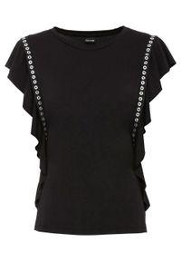 Shirt z ćwiekami bonprix czarny. Kolor: czarny. Wzór: aplikacja