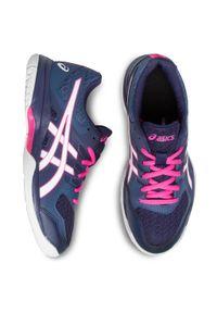 Niebieskie buty do fitnessu Asics z cholewką, na płaskiej podeszwie