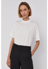 Drykorn - T-shirt bawełniany Kalia. Okazja: na co dzień. Kolor: beżowy. Materiał: bawełna. Wzór: gładki. Styl: casual
