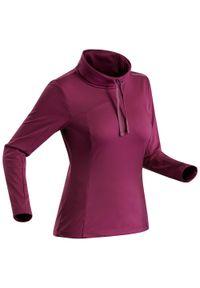 quechua - Koszulka turystyczna długi rękaw SH100 Warm damska. Kolor: fioletowy. Materiał: poliester, materiał. Długość rękawa: długi rękaw. Długość: długie