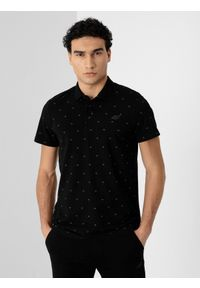 4f - Koszulka polo męska. Okazja: na co dzień. Typ kołnierza: polo. Kolor: czarny. Materiał: bawełna, dzianina, materiał. Styl: casual