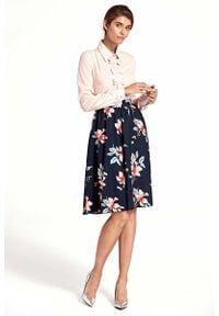 Nife - Granatowa Stylowa Rozkloszowana Spódnica w Kwiaty. Kolor: niebieski. Materiał: poliester. Wzór: kwiaty. Styl: elegancki