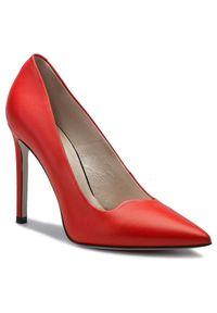 Czerwone szpilki Gino Rossi na szpilce, z cholewką, eleganckie