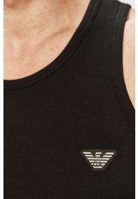 Czarny t-shirt Emporio Armani bez rękawów, gładki
