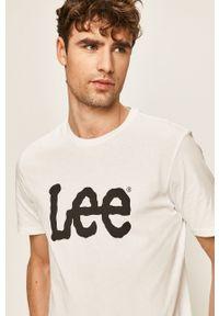 Biały t-shirt Lee casualowy, z nadrukiem, na co dzień