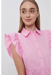 Vila - Sukienka bawełniana. Kolor: różowy. Materiał: bawełna. Typ sukienki: rozkloszowane