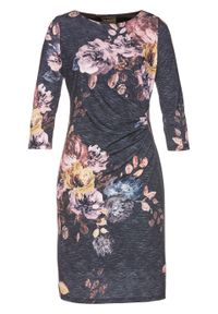 Szara sukienka bonprix z nadrukiem