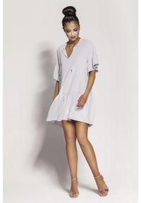 Szara sukienka z falbanami Dursi z falbankami, na lato