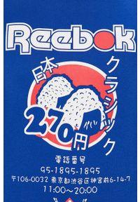 Niebieski t-shirt Reebok Classic z nadrukiem, na co dzień