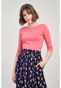 Marie Zélie - Bluzka Ribolla różana. Kolor: różowy. Materiał: dzianina, materiał, skóra, bawełna, elastan. Sezon: lato