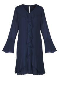 Niebieska sukienka Vito Vergelis klasyczna, na imprezę, z klasycznym kołnierzykiem