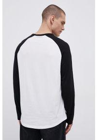 Volcom - Longsleeve bawełniany. Okazja: na co dzień. Kolor: biały. Materiał: bawełna. Długość rękawa: długi rękaw. Wzór: nadruk. Styl: casual