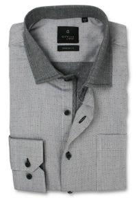Szara elegancka koszula Rey Jay długa, z długim rękawem