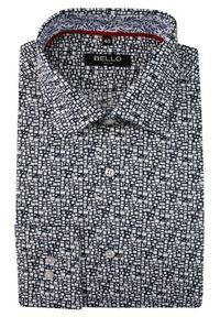 Bello - Granatowo-Biała Koszula Wizytowa, Długi Rękaw -BELLO- Taliowana, Elegancka, Wzór Geometryczny. Okazja: do pracy, na spotkanie biznesowe. Kolor: niebieski. Materiał: bawełna. Długość rękawa: długi rękaw. Długość: długie. Wzór: geometria. Styl: wizytowy, elegancki