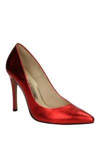 Neścior - szpilki neścior 101-c. Kolor: czerwony. Materiał: skóra. Szerokość cholewki: normalna. Obcas: na szpilce. Wysokość obcasa: średni