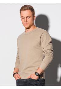 Ombre Clothing - Bluza męska bez kaptura bawełniana B1146 - beżowa - XXL. Typ kołnierza: bez kaptura. Kolor: beżowy. Materiał: bawełna. Styl: klasyczny, elegancki