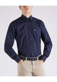 PAUL & SHARK - Granatowa koszula z logo. Typ kołnierza: kołnierzyk koszulowy. Kolor: niebieski. Materiał: bawełna. Długość rękawa: długi rękaw. Długość: długie