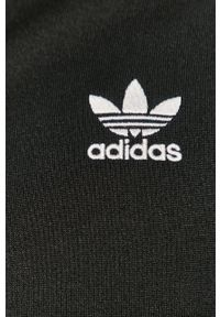 Czarna bluza rozpinana adidas Originals casualowa, z aplikacjami, bez kaptura
