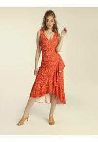 Madnezz - Sukienka Flamenco - carnaval print. Materiał: wiskoza, elastan. Wzór: nadruk. Typ sukienki: kopertowe, dopasowane